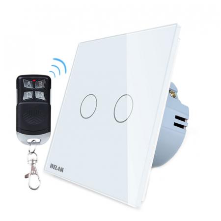 Intrerupator dublu cu touch,alb - Wireless, Telecomanda inclusa - Welaik A1923CWR01 [0]