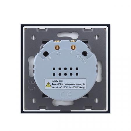 Intrerupator dublu cu touch,negru - Wireless, Telecomanda inclusa - Welaik A1923CBR01 [4]