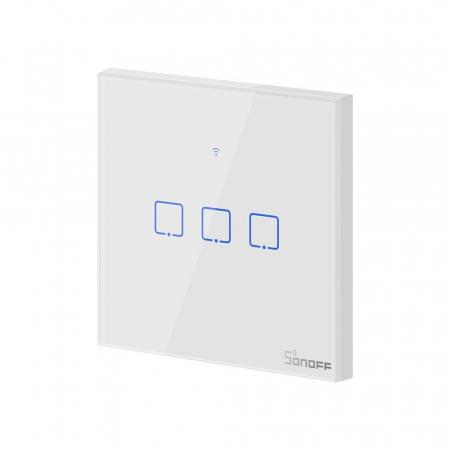 Intrerupator triplu cu touch,alb - WiFi + RF 433 - Sonoff T1EU3C-TX-RF [4]