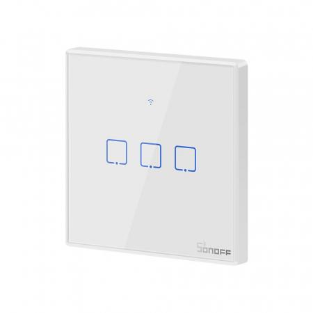 Intrerupator triplu cu touch,alb - WiFi + RF 433 - Sonoff T1EU3C-TX-RF [7]