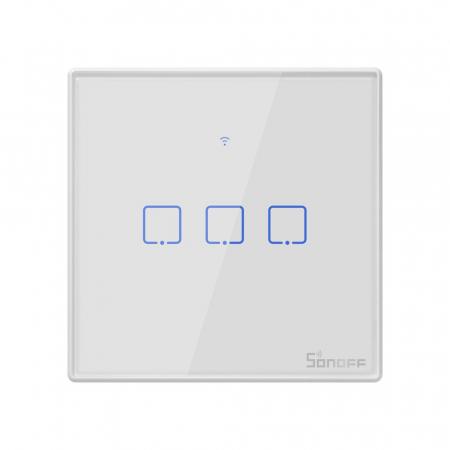Intrerupator triplu cu touch,alb - WiFi + RF 433 - Sonoff T1EU3C-TX-RF [5]