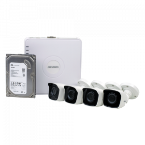 KIT 4 camere Bullet IP 2MP + NVR 4 canale, HDD 1TB - HIKVISION NK42N0H-1T(SG) [1]