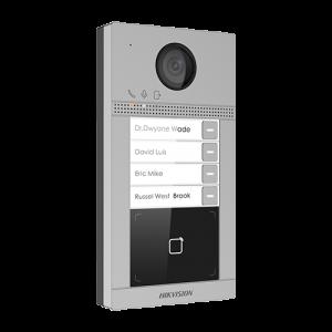 Post videointerfon Hikvision exterior TCP/IP pentru 4 familii, Wi-Fi 2.4GHz, control acces integrat - DS-KV8413-WME1 [0]