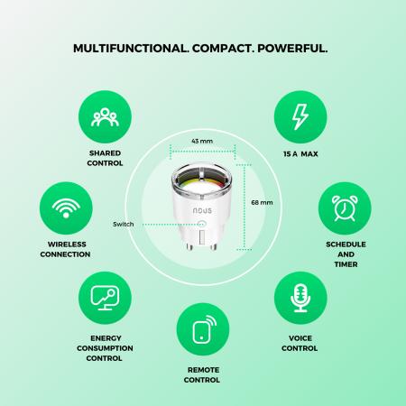 Priza Smart WiFi, Control din aplicatie, 15A - Nous A1 [2]