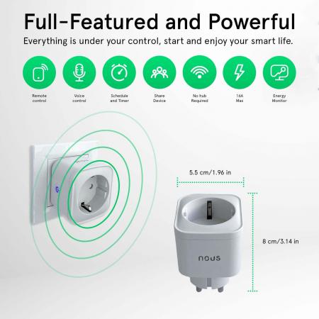 Priza Smart WiFi, Control din aplicatie, 16A - Nous A7 [2]