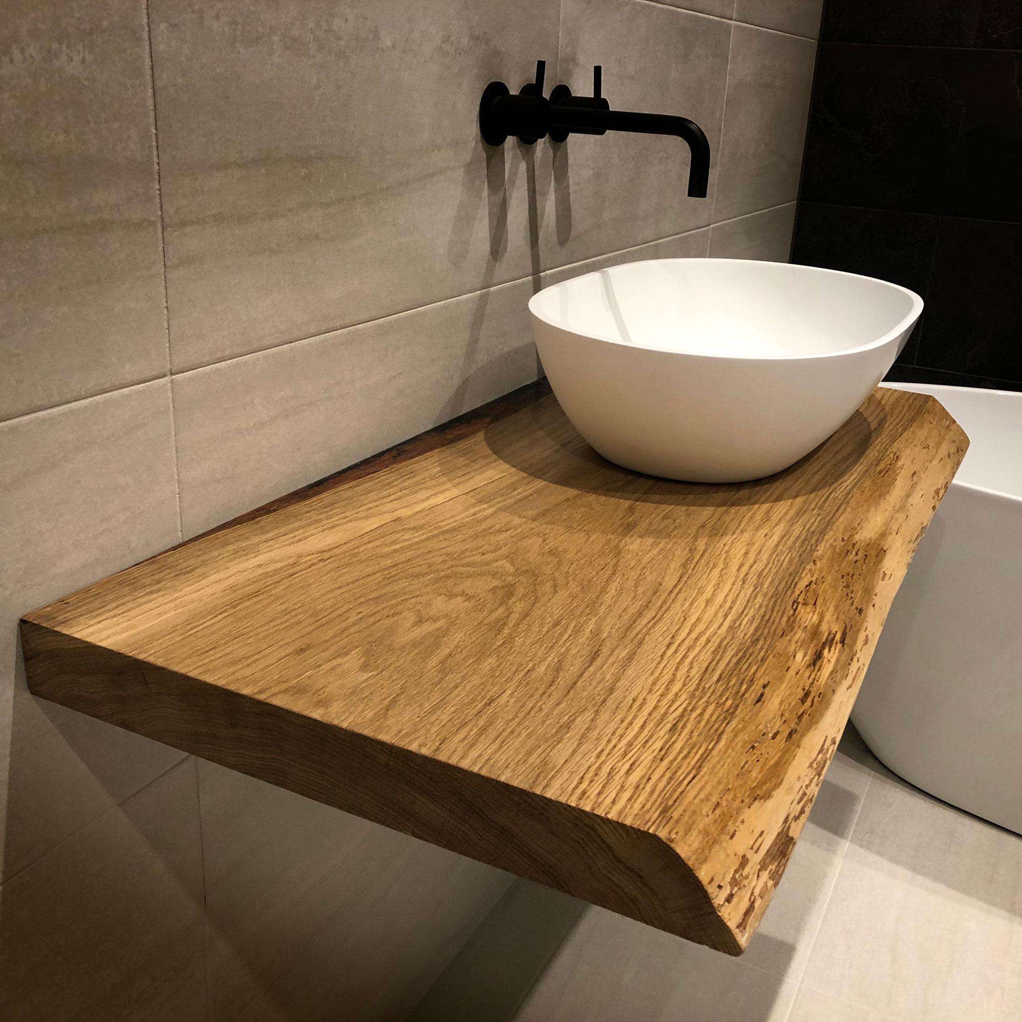 Blat stejar masiv pentru lavoar baie comanda