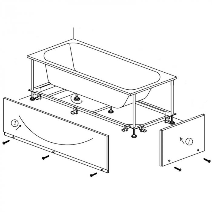 Masca si cadru rigidizare pentru cada 170x75 cm, Kolpasan [0]
