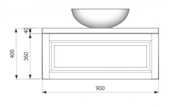 Mobilier baie albastru din lemn masiv tei opac si blat solid surface 4