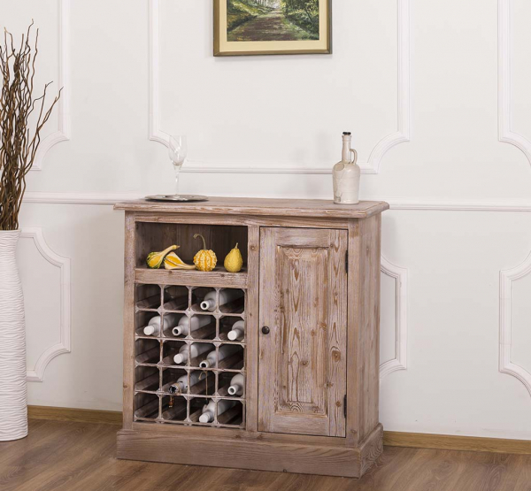 Bar bucatarie mic din lemn masiv cu suport sticle si o usa 0