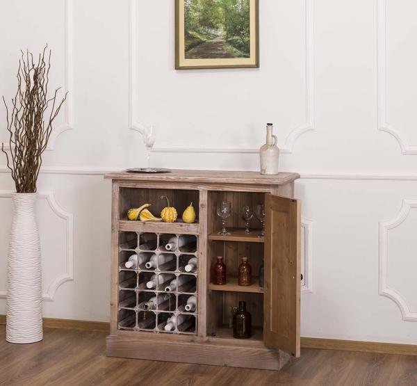 Bar bucatarie mic din lemn masiv cu suport sticle si o usa 1