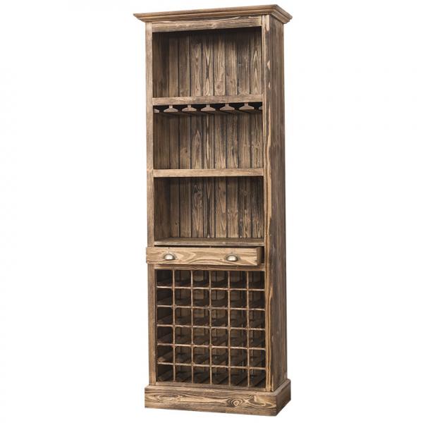 Bar living din lemn masiv cu suport sticle 1