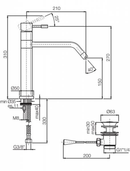 Baterie chiuveta bucatarie crom Fima Carlo Frattini, Spillo 1