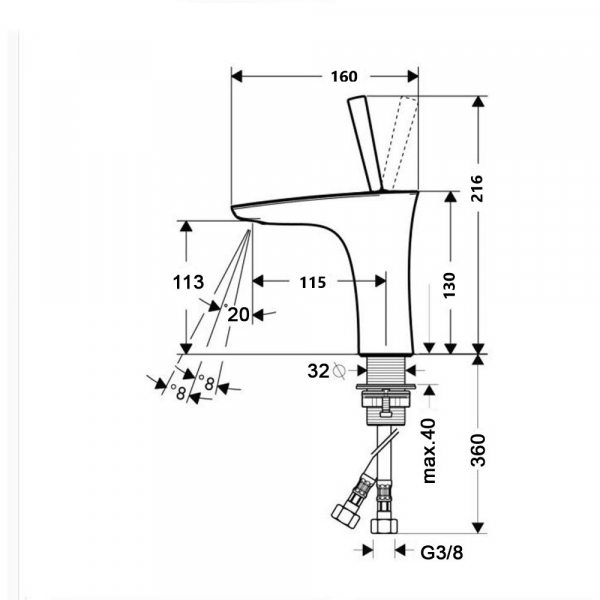 Baterie chiuveta crom, Line Foglia [1]