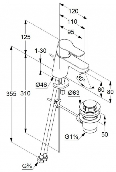 Baterie chiuveta monocomanda cu ventil inclus, culoare crom, KLUDI PURE&EASY 2
