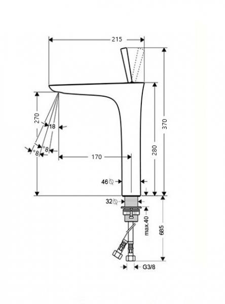 Baterie chiuveta inalta crom, Line Foglia 1