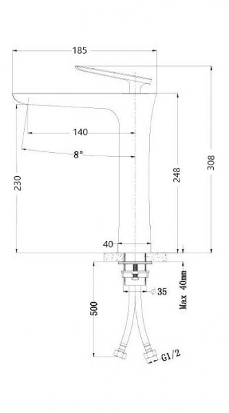 Baterie lavoar inalta crom, Atrio Foglia 1