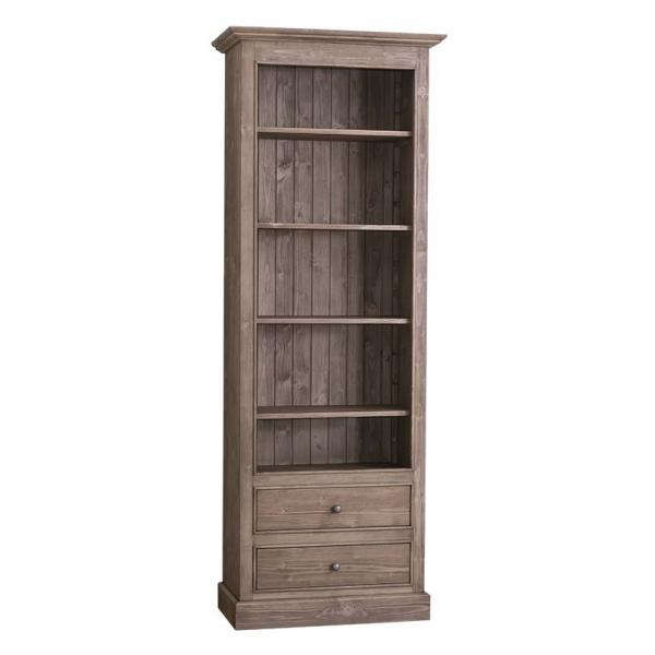 Biblioteca living clasica din lemn masiv cu 2 sertare 0