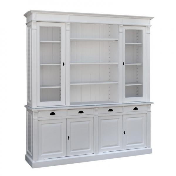 Biblioteca living clasica lemn masiv cu 2 usi sticla, 4 usi lemn si 4 sertare Directoire 0