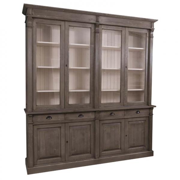 Biblioteca living lemn masiv cu 4 usi lemn, 4 usi sticla si 4 sertare Directoire 0
