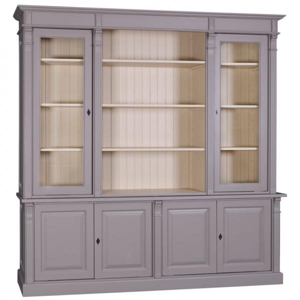 Biblioteca living lemn masiv cu 4 usi lemn si 2 usi sticla Directoire 0