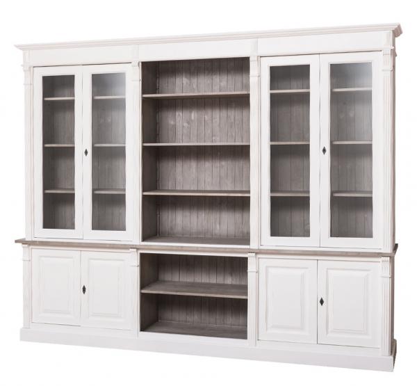 Biblioteca mare lemn masiv cu 4 usi lemn si 4 usi sticla Directoire 0