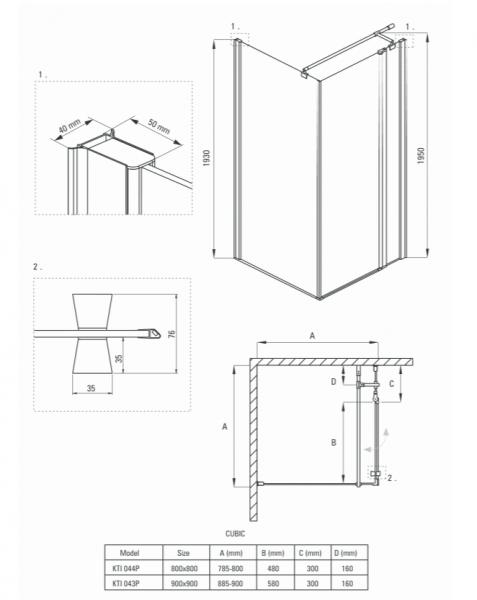 Cabina dus patrata 90x 90 cm crom Deante, Cubic 2