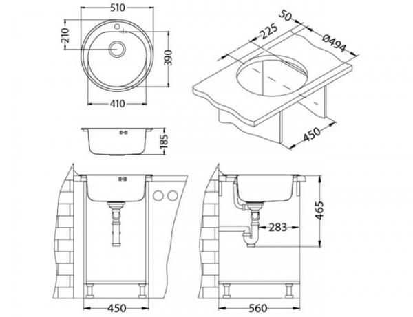 Chiuveta bucatarie rotunda, Alveus Form 30 1