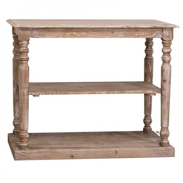 Consola hol din lemn masiv cu picioare strunjite si o polita 0