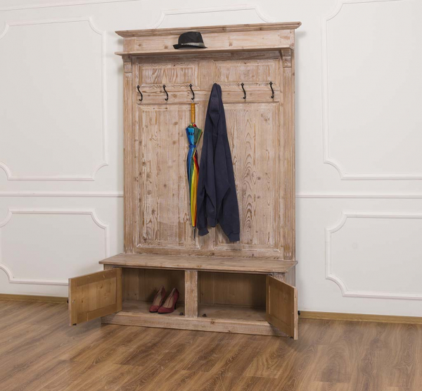 Cuier hol din lemn masiv cu pantofar 2 usi 1