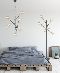 Lampadar vintage culoare negru mat, Cross 1