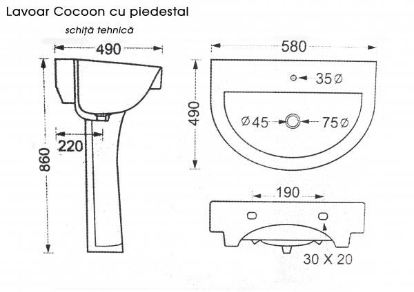 Lavoar baie cu piedestal Cocoon 1