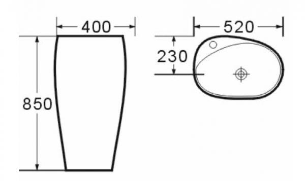 Lavoar freestanding oval Foglia 1