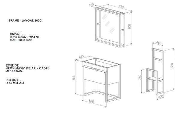 Mobilier baie alb din lemn masiv 3
