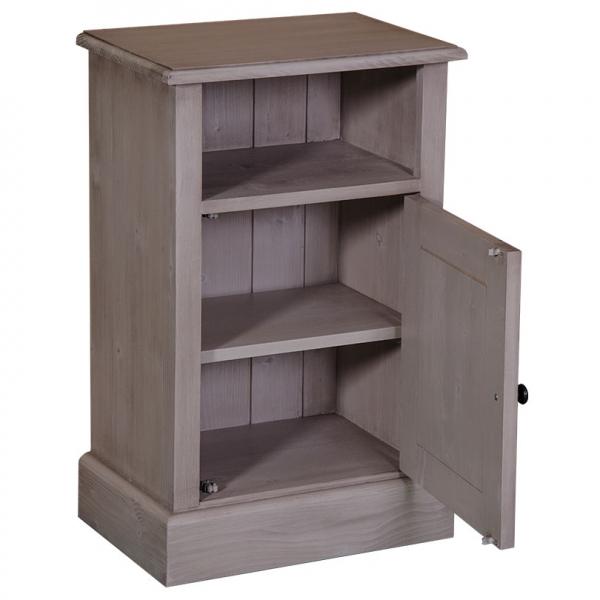 Noptiera dormitor lemn masiv cu o usa si spatiu deschis 1