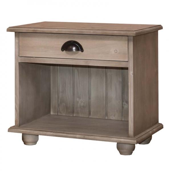 Noptiera dormitor lemn masiv cu un sertar si spatiu deschis 0