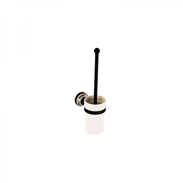 Perie cu suport pentru vasul de toaleta, culoare negru, Foglia 0