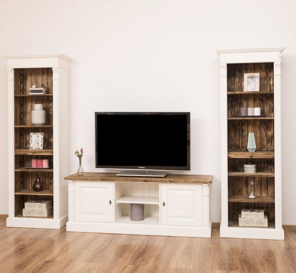 Comoda TV si doua biblioteci etajera din lemn masiv, finisaj dublu vopsit 1