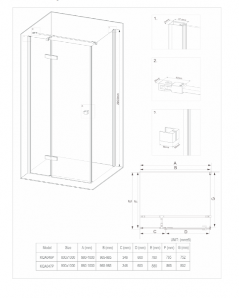 Cabina dus dreptunghiulara cu usa batanta 80 x 100 cm neagra Deante, Arnika 4