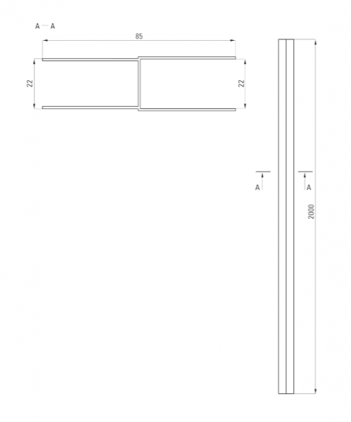Profil extensie cabina dus culoare crom Deante 1