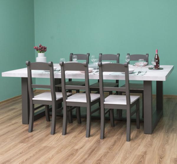 Set masa cu 6 scaune, finisaj dublu vopsit 1