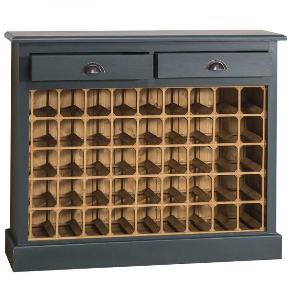 Suport pentru sticle de vin din lemn masiv cu 2 sertare 1