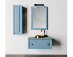 Mobilier baie albastru din lemn masiv tei opac si blat solid surface0