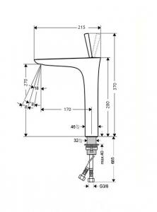 Baterie chiuveta inalta crom, Line Foglia1