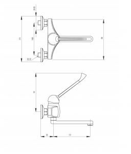Baterie lavoar crom Deante cu pipa pivotanta si montare pe perete, Vital [1]