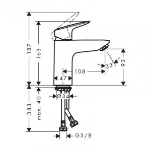 Baterie lavoar crom Hansgrohe, Logis 100 [4]