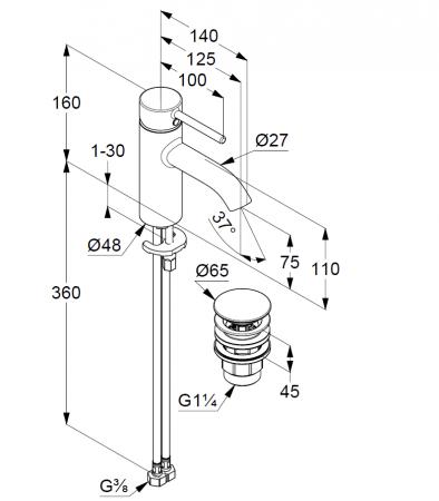 Baterie lavoar monocomanda cu ventil inclus neagra, Kludi Bozz [1]