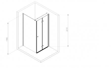 Cabina dus dreptunghiulara 80 x 90 crom cu o usa batanta si un perete fix Deante, Kerria Plus4