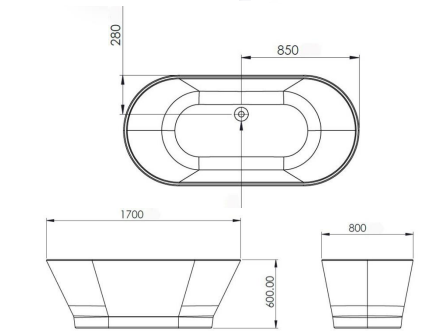 Cada baie freestanding ovala 170x80 cm cu preaplin Fibrex, OSLO [3]