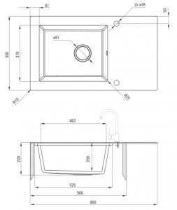 Chiuveta bucatarie cu preaplin compozit si sticla Deante, Capella GM2C [1]