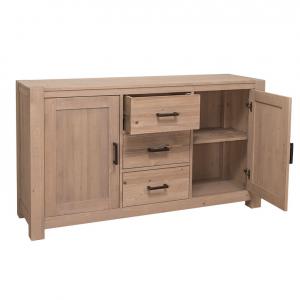 Comoda hol din lemn masiv cu 2 usi si 3 sertare Cube1